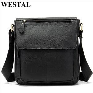 WESTAL Черная мужская сумка через плечо из натуральной кожи мужская сумка на молнии сумка через плечо мужская кожаная сумка через плечо для ipad ...