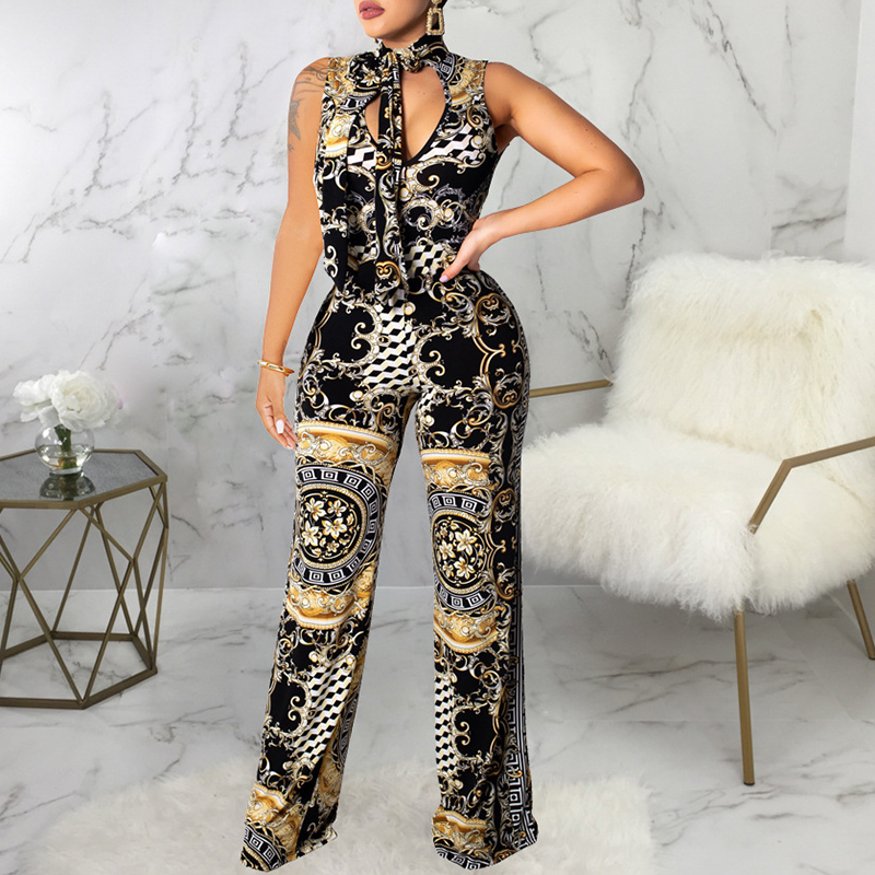 Glamaker Bow V neck   jumpsuit   women bodysuit Vintage print   jumpsuit   long macacao feminino Elastic skinny elegant   jumpsuit   romper