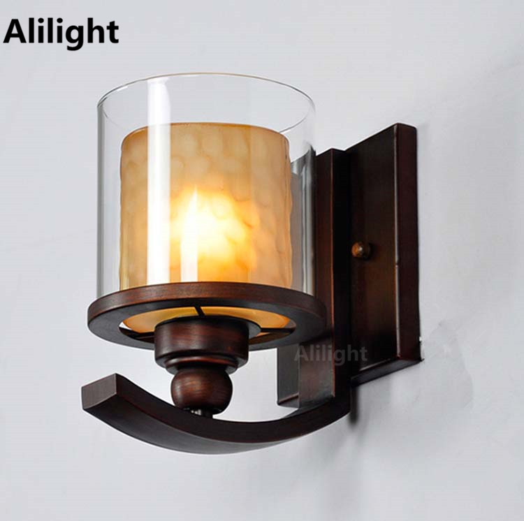 American Wrought Iron Wall Lamp Fashion Bed Lighting Vintage Living Room Light Brief Bathroom