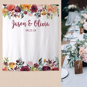 Image 4 - Allenjoy wedding banner backdrop photography wood flower decor signage backdground photocall photophone econ polyester custom