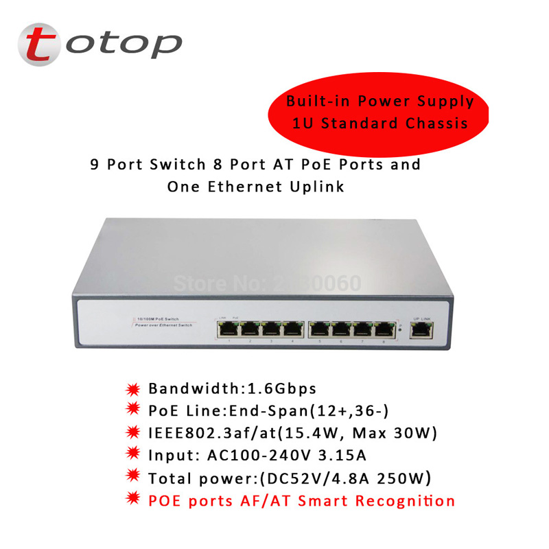 1 + 8 Ports 100 Mbps Poe-switch Injektor Power Over Ethernet Ieee 802.3af Für Kameras Ap Voip Eingebauter Versorgung Schalter Adapter