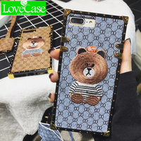 LoveCase Luxury Brand Embroidery For IPhone 7 7plus Panda Animal Pattern Phone Case For IPhone 6