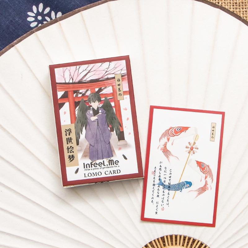 28 Sheets/Set UKIYO-E Japanese Style Mini Lomo Postcard /Greeting Card/Birthday Letter Envelope Gift Card
