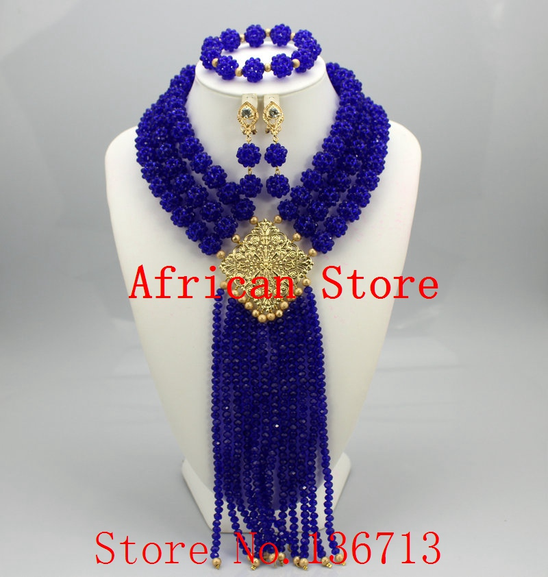 New Design Nigerian Wedding African Beads Jewelry Set Crystal Free ...