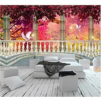 2016 Wall Murals Forest Maple Pigeons Wall Paper Home Decor 3D Wall Stickers Room Background Wallpaper for living room