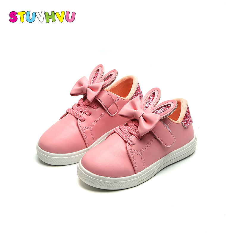 Spring Autumn Casual School Shoes for Kids Girls 2019 Bow Cute Rabbit Ears Childrens Casual Shoes Wild Sequins Pink White BlackSpring Autumn Casual School Shoes for Kids Girls 2019 Bow Cute Rabbit Ears Childrens Casual Shoes Wild Sequins Pink White Black