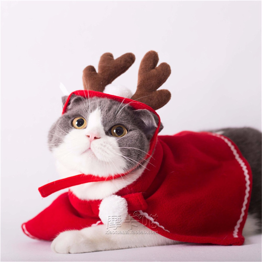 Red Cute Pet Cat Clothing Christmas Party Puppy Cat Clothes Costumes Lovely Cloaks Mantle with Buckhorn Set Suit For Cats ...