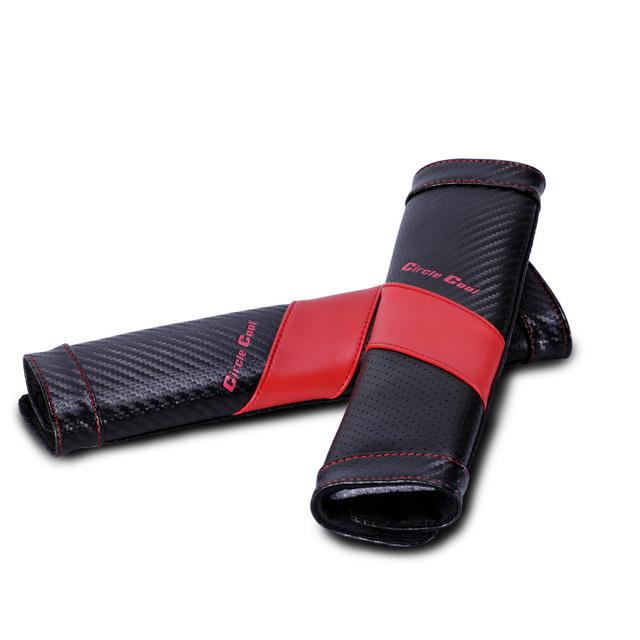 Círculo clásico cuero fresco genuino asiento de automóvil cinturón de seguridad cubre decoración del coche 2 unids - Vermeil