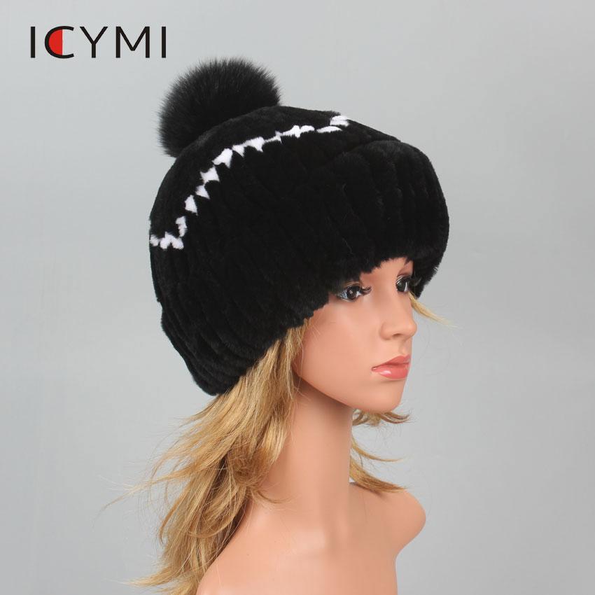 ICYMI Women Rex Rabbit Fur Hat With Real Fox Fur Ball Winter Hats Beanies Cap Hand Sewing Warm Skullies Elastic Lady Head wear