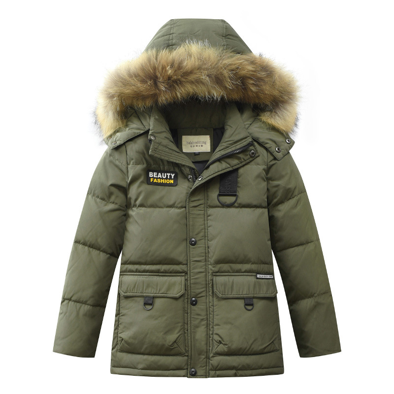 Toddler Boy Winter Coats and Jackets Girls Winter Jackets with Fur Collar Hooded Long Down Coats Teenage Boys Clothing 14 Year