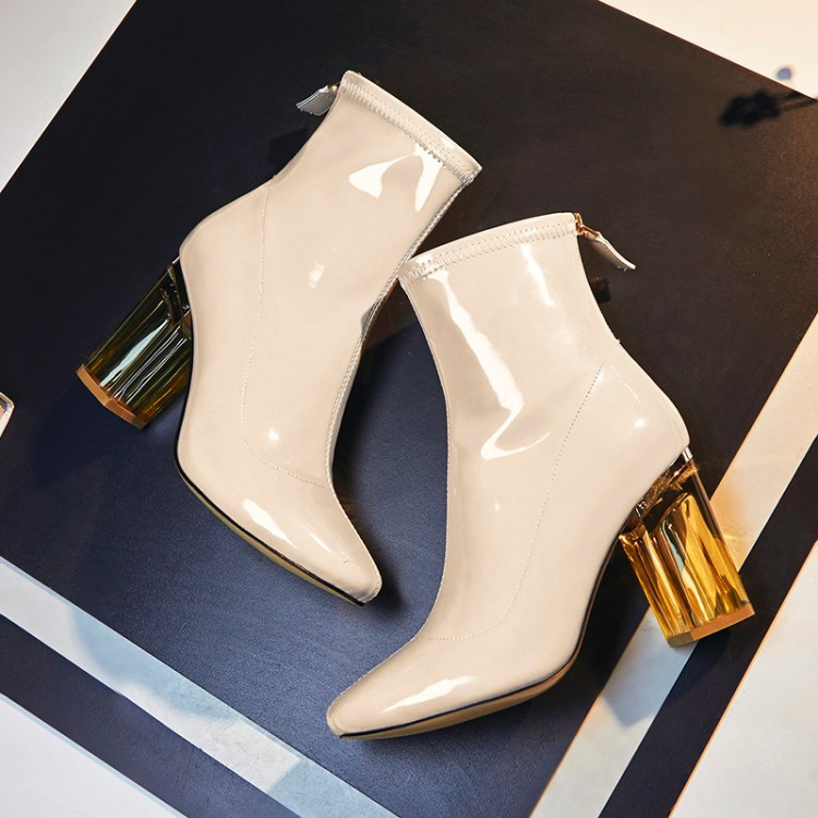 Nouveau beau cuir bottes de pluie clair talons hauts chaussures femme Lucite Perspex Chunky talon bottines noir Nude femmes chaussons Tid-in Bottines from Chaussures    1