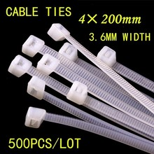 500pcs/lot 4*200mm National Standard 3.6mm width Black/White Plastic Lock Type Nylon Cable Tie Wire Wrap