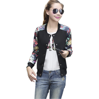 2017 Flower Print Plus big Size Baseball short Jacket Women Round Collar Button Thin Bomber Jackets Long Sleeves girl Coat basic 2