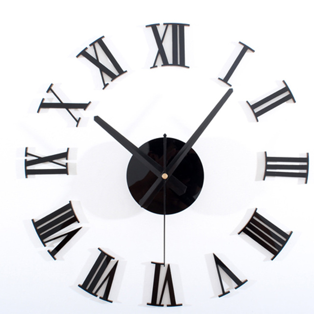 Black Modern Design 3D Creative DIY Wall Clock All Roman Numerals Classic Clock  Living Room Decorative Part 33