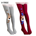 2015 Christmas clothing baby girls tights wapiti cotton tights kids girls pantyhose warm winter children's stockings 2-7Y