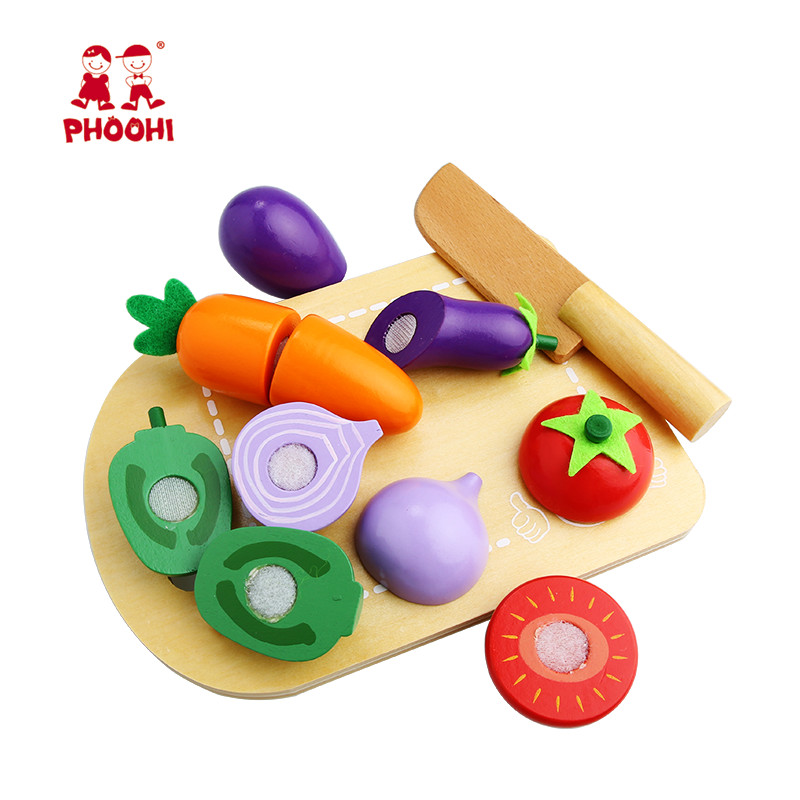 Kids Wooden Cutting Vegetable Toy Children Pretend Kitchen Food Play Toy For Toddler PHOOHI