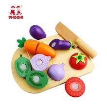 Çocuklar ahşap kesme sebze oyuncak çocuk mutfak gıda oyun oyuncak yürümeye başlayan PHOOHI