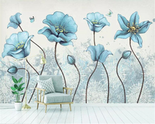 beibehang Custom size Modern minimalist hand-painted flowers and birds idyllic small fresh background wall decorative painting