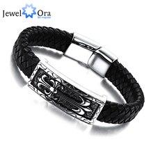 Men Bracelet Genuine Leather Stainless steel Bracelet Wrap Wristband For Men Classic Bracelet (JewelOra BA101166)