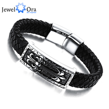 New Brand Genuine Leather Stainless steel Men Bracelet Wrap Wristband For Men Classic Bracelet Men Jewelry (JewelOra BA101166)