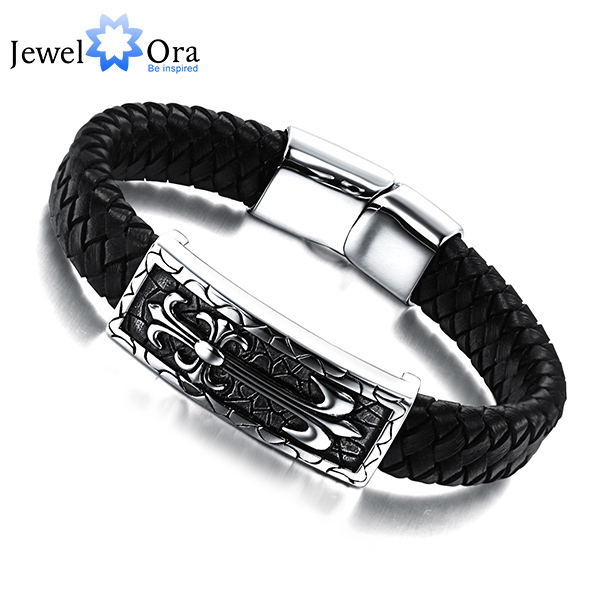 New Brand Genuine Leather Stainless steel Mens