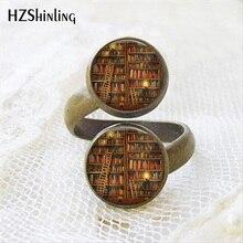 2017 recién llegado libro de biblioteca anillo de dos bolas Estilo Vintage cúpula de vidrio anillos de libros antiguos para estudiantes profesores y libra regalo