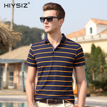 HIYSIZ New Hot T-Shirts Men 2019 Soft Streetwear Color Striped Casual T Shirt Turn-down Collar TShirts For Summer ST019