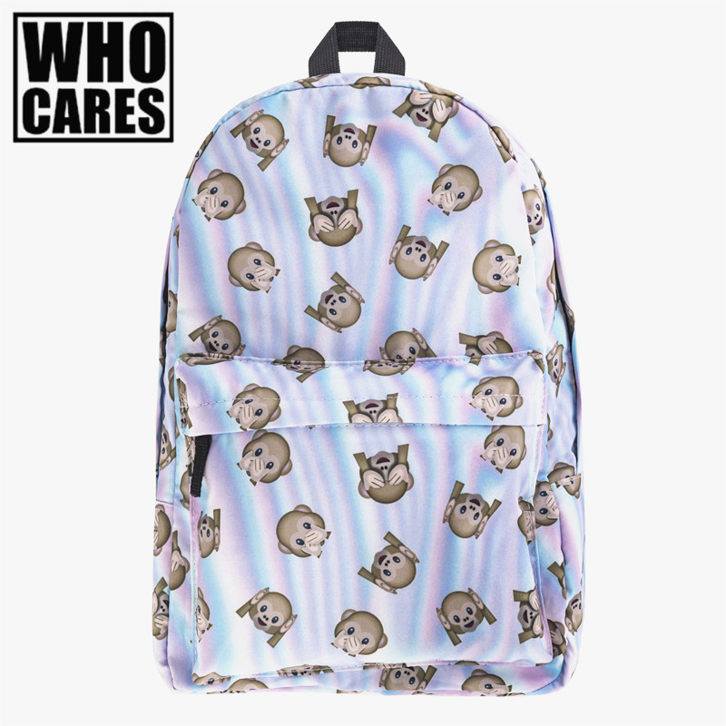 holo monkeys Print backpack women mochila Who Cares Funny Style bookbag school bags for teenage girls sac a dos canvas backpack women backpack soft leather large capacity casual travel backpack school bags for girls student bookbag mochila mujer sac a dos