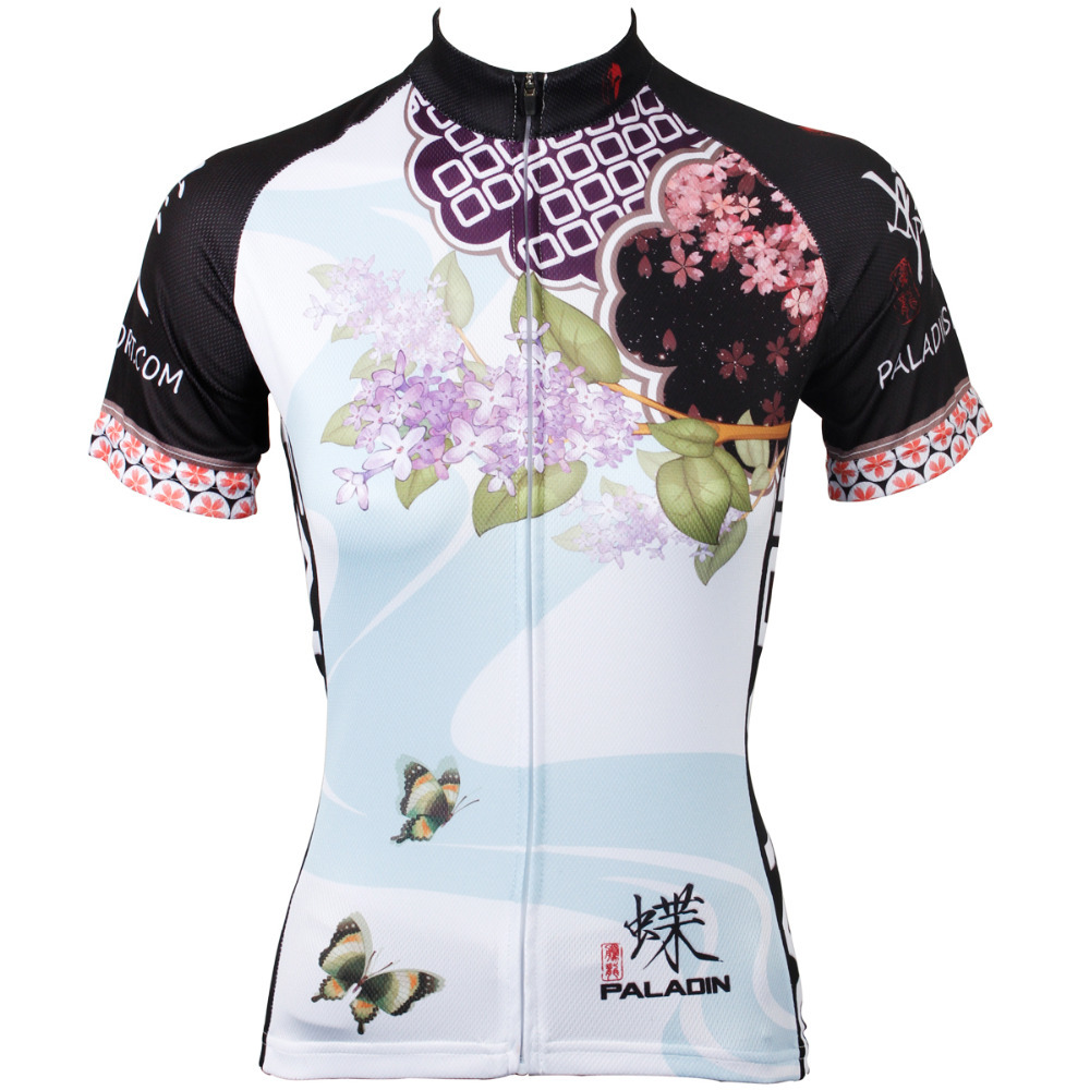 2016 New Women top Sleeve Breathable Cycling Jersey Clove and Butterfly top bike hot Cycling Clothing Size XS-XXXL ILPALADIN 2016 new men s cycling jerseys top sleeve blue and white waves bicycle shirt white bike top breathable cycling top ilpaladin