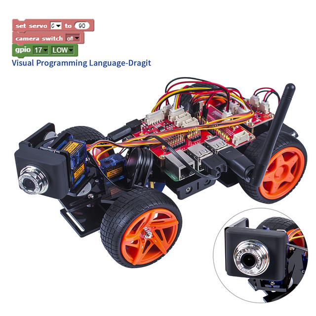 SunFounder Remote Control Robot Kit For Raspberry Pi 3 Smart Video Car Kit V2.0 RC Robot App Controlled Toys (RPi Not included)