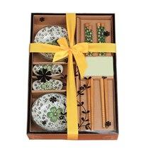 Japonés conjunto vajilla de Cerámica Plato de Sushi Set para Dos en Caja de Regalo Verde