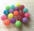 20mm 100 Unids/lote color de la mezcla (efecto De Neón) AB Rhinestone de la Resina Granos Gruesos, beads chunky collar