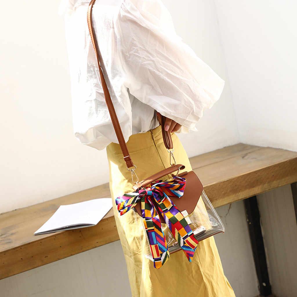 Saco Da Forma saco de Geléia Transparente das mulheres Cachecol Retro Selvagem Ombro Mensageiro sac femme principal torebka damska senhoras sacos de 2019