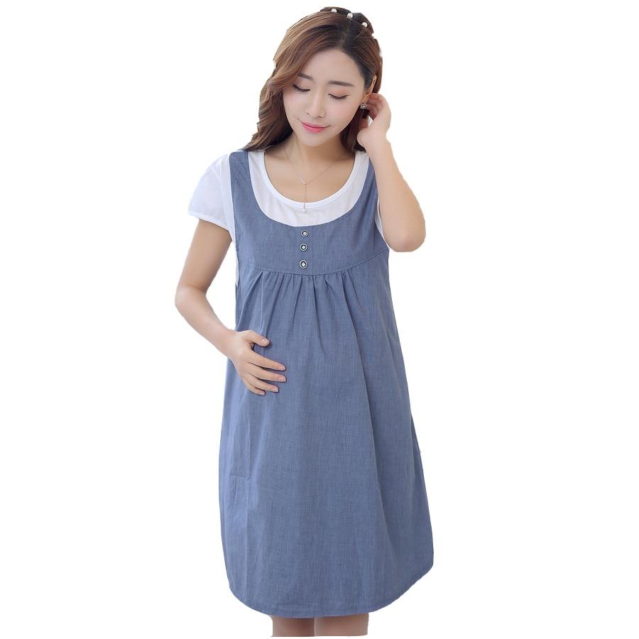 Maternity Dresses False Two-piece Summer Vestido Plus Size Women Clothing Pregnant Clothes Pregnancy Dress M11