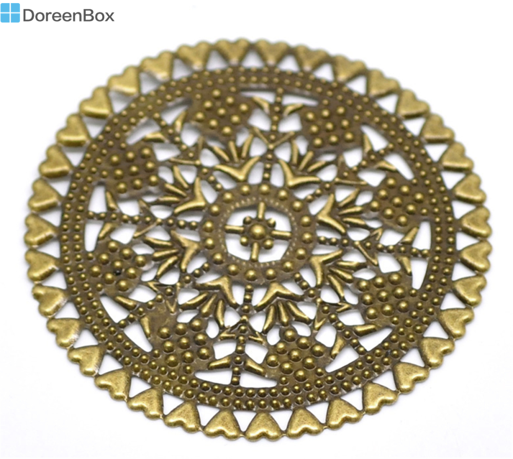 Doreen Box Lovely 20PCs Antique Bronze Filigree Round Wraps Connectors Embellishments Findings 6cm(2-3/8