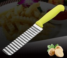 1PC French Fry Cutters Chip Dough Vegetable Carrot Blade Potato Peeler Crinkle Wavy Cutter Slicer S/Steel KX 142