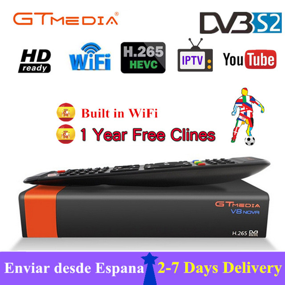 Satellite Receiver GTMEDIA V8 Nova DVB S2 with 1 Year Cccam 7 clines HD 1080P Support