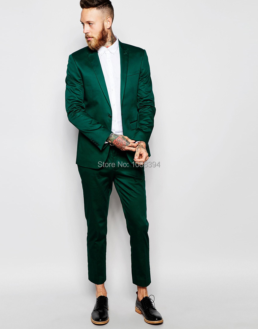 Best Selling 2018 Custom Made One Button Groom Suit Green Satin Slim ...