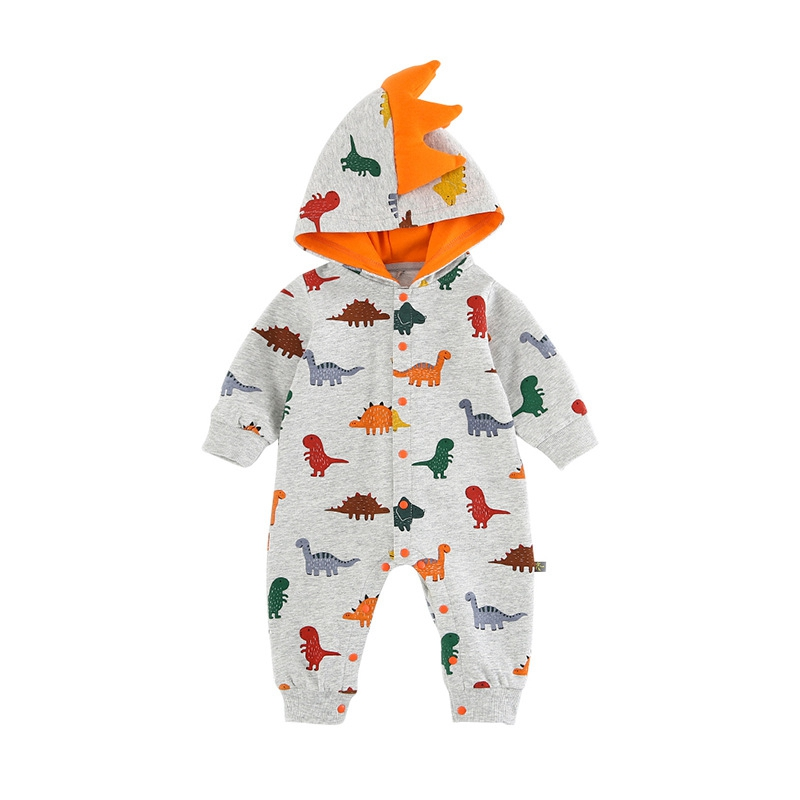 2019 New Cute Baby Dinasour Costume Spring Long Sleeve Hooded Baby   Rompers   Zipper Boys One-Pieces Baby Body Animal Overalls