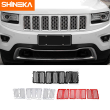 SHINEKA Car Stickers For Jeep Grand Cherokee 2014+ Front Grilles Decoration Cover Honeycomb Grid For Grand Cherokee Accessories