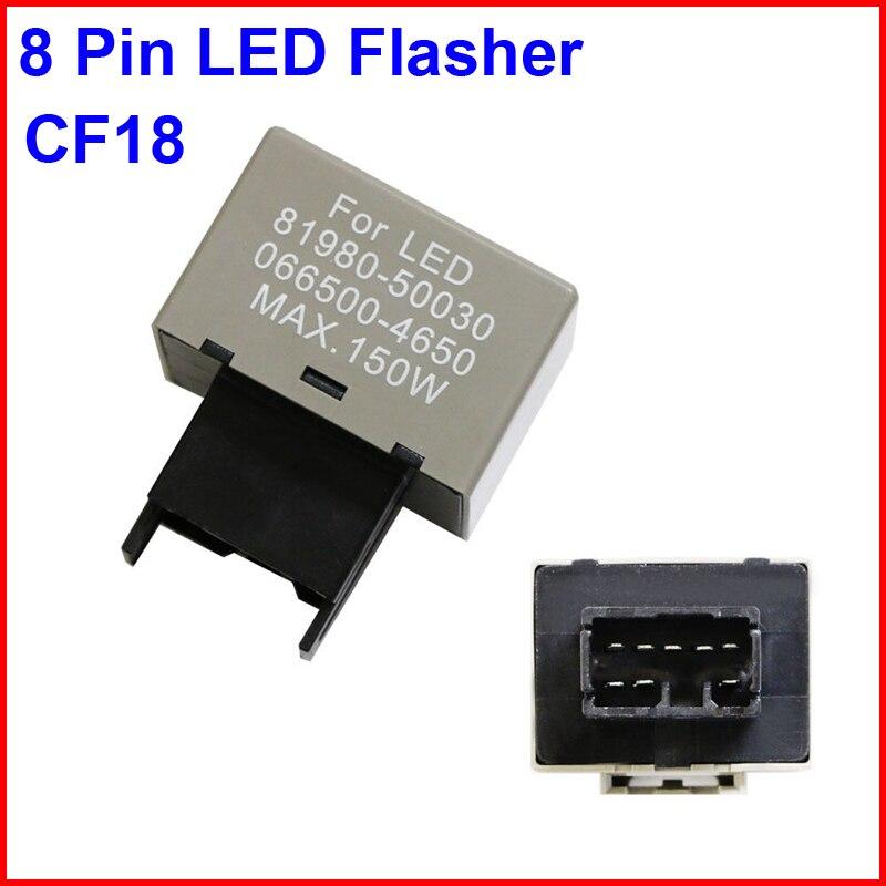2PCS CF18 LED Flasher 8 Pin Relay Car Fix Auto Motor Turn Signal Light Error Flashing Blink 81980-50030 06650-4650 Max 150W