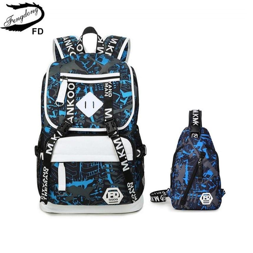 Fengdong Men Usb Backpack Waterproof Sling Chest Bag Pack Male Bags Large Travel Backpack For Men High School Bags For Boys Gift