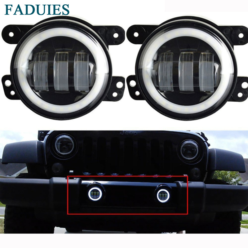 FADUIES 4 Inch 30W  Led Fog Lights 6000K White Halo Ring Angel Eyes for Jeep Wrangler JK TJ LJ Dodge Chrysler Cherokee