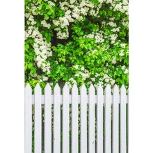 Laeacco Spring Green Leaves White Flowers Fence Portrait Natural Scene Photographic Backgrounds Photo Backdrops For Studio