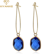 XIYANIKE Fashion Women Classic Luxury Geometry Crystal Statement Drop Earrings  for Women Wedding Jewelry Accessories Gift E1443