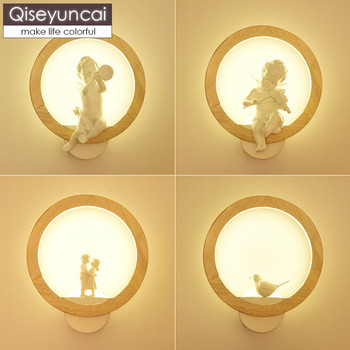 Qiseyuncai Nordic bedroom bedside lamp cartoon bird angel children's house wall lamp wood living room wall background light