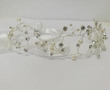 Handmade Headpiece Imitation Pearl with Rhinestone Headbands for Women Wedding bridal Head Band Bridal Hair Accessorie Headpiece