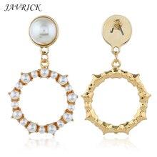 Sweet Girls Earrings Simple Artificial Pearl Geometric Circle Earring Fashion Hollow Shape Pendant Ear Jewelry For Women