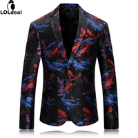 Fancy Men Blazer Jacket Casual Printed Koi Fish Maillot Homme Party Stage Wear For Singer Mens Blazers New Arrivals 2017 M-4XL