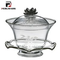 200ml Creative Japanese Boutique Lotus Gaiwan Glass Brew Tea Pot Tea Maker Tea Cup Teapot Master Cup Lid Blow Kung Fu Tea Set